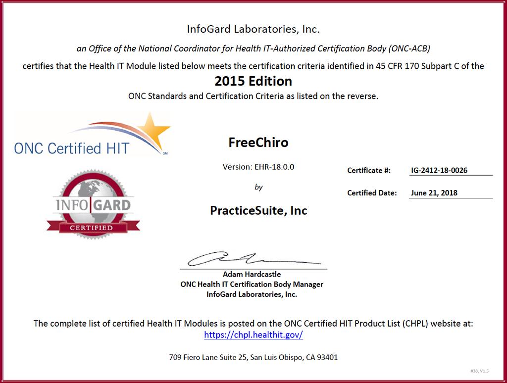 FreeCHIRO ONC Certificate
